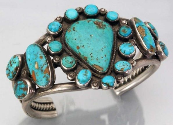 Cuff | A Hosteen (Navajo). Coin Silver and natural turquoise. ca. mid 20th century.