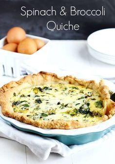 Spinach and Broccoli Quiche - Favorite breakfast quiche made with fresh vegetables; spinach, broccoli, onion and garlic with fresh eggs and cheddar.