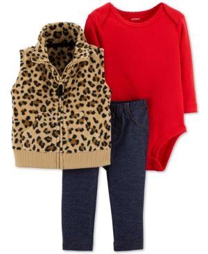 7c5deb9ca66 Carter s Baby Girls 3-Pc. Animal-Print Vest