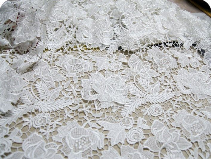 Blessing dress fabric White Wedding Lace Fabric Bridal Lace Fabric Costume by lacetime, $35.00