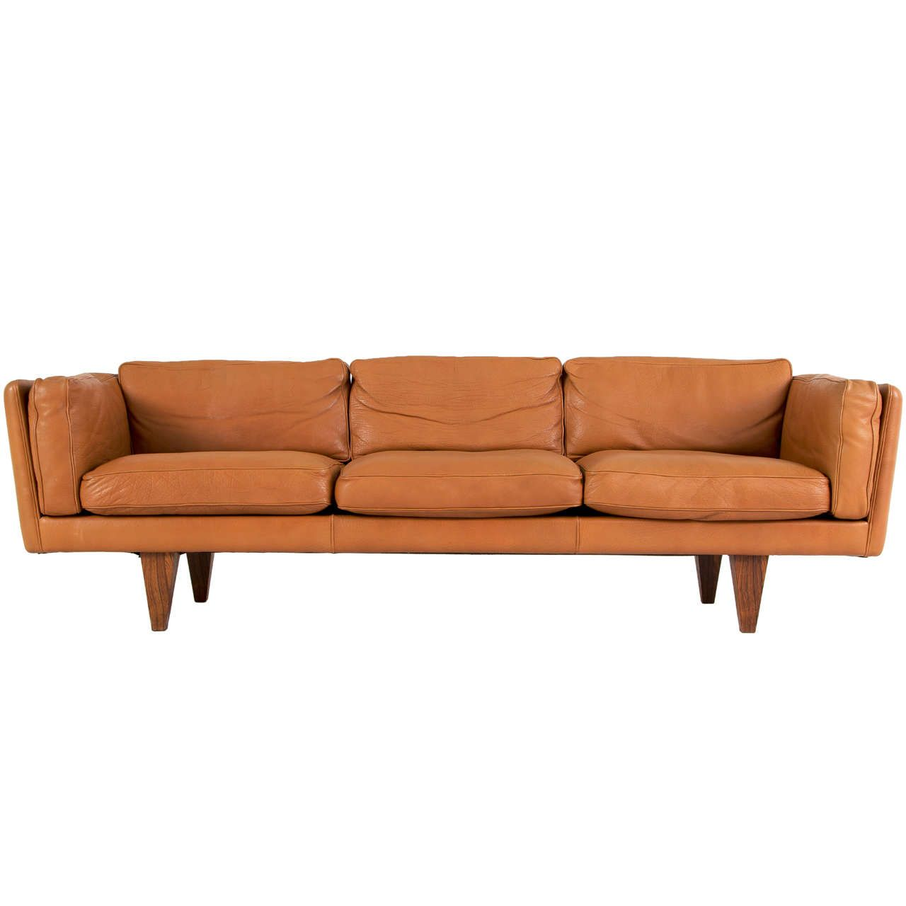Illum Wikkelso Three Seater Sofa In Cognac Buffalo Leather
