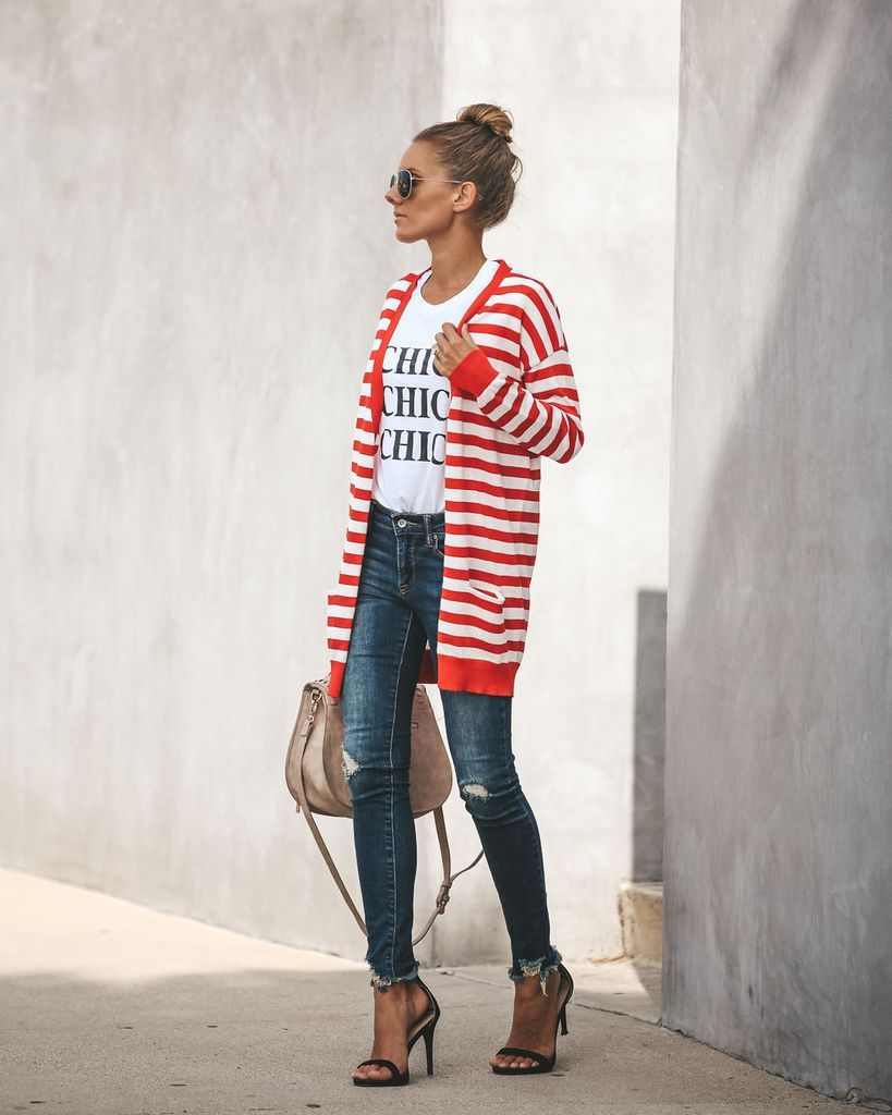 5303323875f Warren Striped Pocketed Cardigan - Red