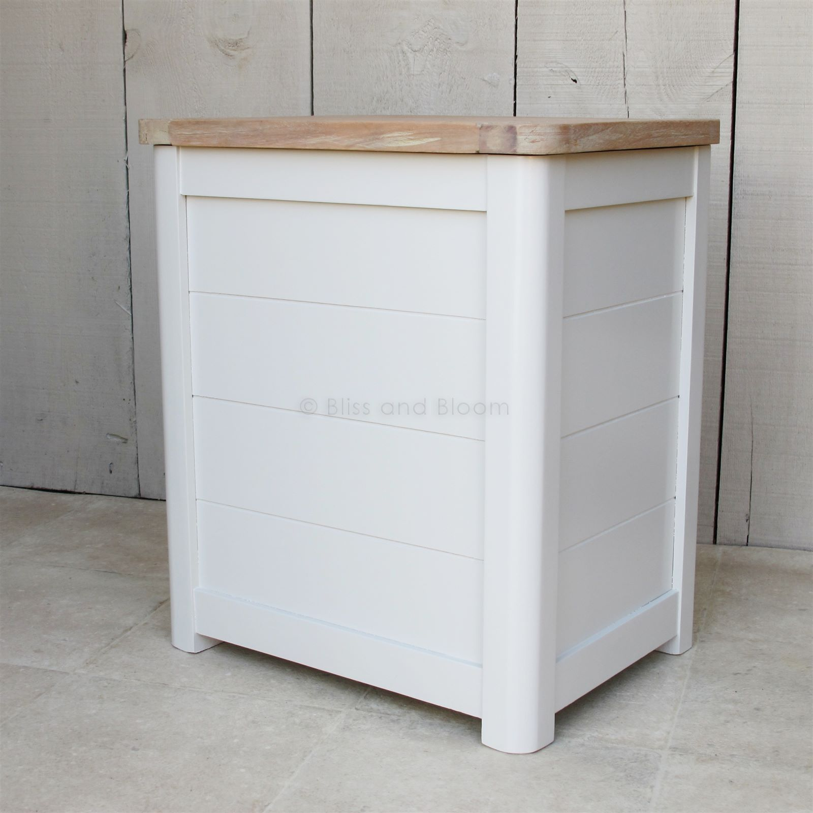 Beautiful Wooden Laundry Bin Painted Antique White With A Gorgeous Top Comes In Two Sizes From Www Blissandbloom Co Uk