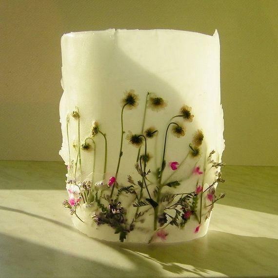 Meadow  Dried Flower Decorative Handmade Candle Lantern Bathroom Bedroom Nature Floral  Decor Housewares Flower Decor  White Green Fuchsia
