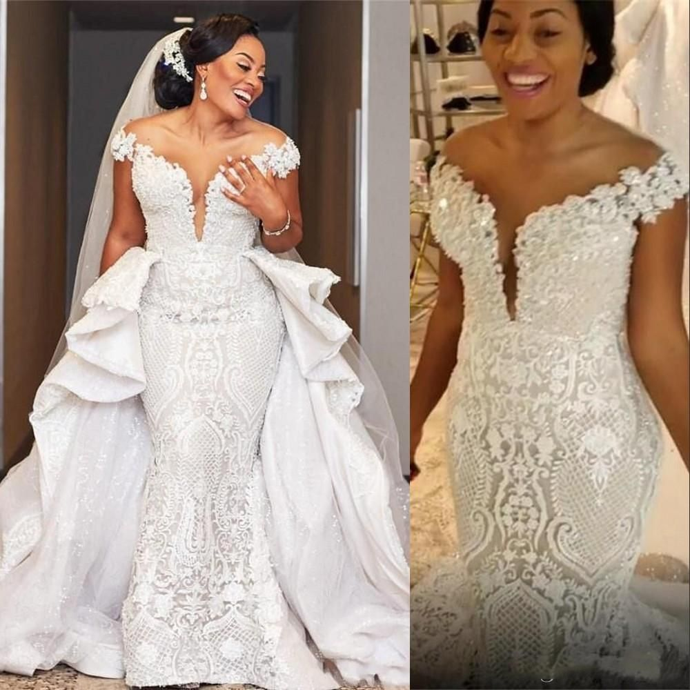 Unique Arabic Mermaid Wedding Dresses Retro Full Lace Plus Size Bridal Gowns Off The Shoulder Bing African Wedding Gowns Detachable Train From Kiss Dress 218 Wedding Dress Train Wedding Dress Long Sleeve [ 1000 x 1000 Pixel ]
