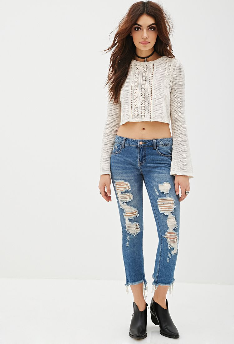 Crochet-Paneled Crop Top | FOREVER21 - 2000116934