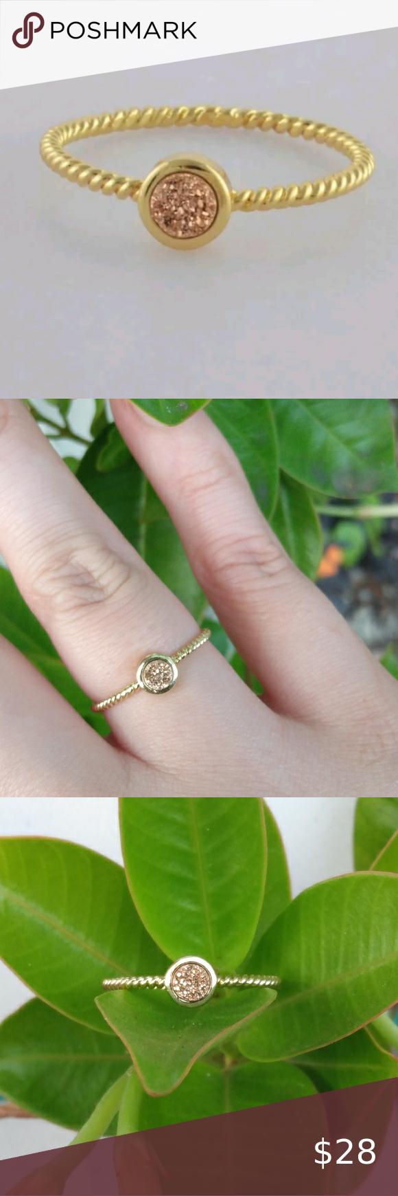 "Photo of ""Sunrise"" Bezel druzy ring Size 7.5 Dainty minimalist Genuine gold titanium druz…"