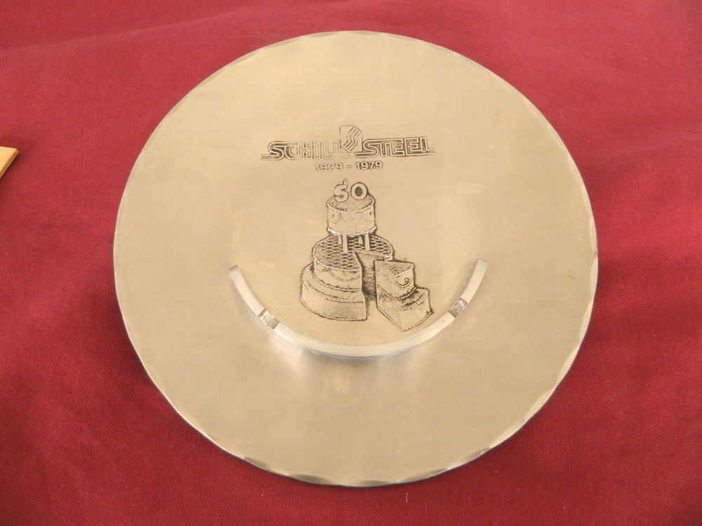 """WENDELL AUGUST FORGE–GROVE CITY PA-STAINLESS CLAD ASHTRAY-8 ¾""""-SCHILL STELL"""