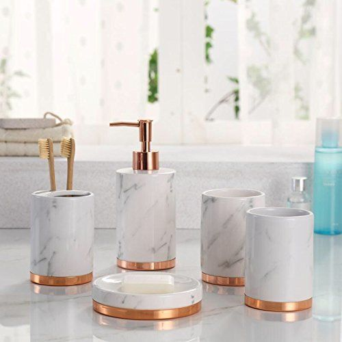 Marble Look With Rose Gold Trim 5 Piece Bathroom Accessor Https Www Amazon Com Dp B Marble Bathroom Accessories Gold Bathroom Decor Bathroom Accessory Set