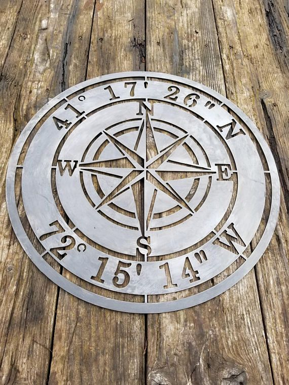 Compass Rose Nautical Personalized Metal Sign Misc