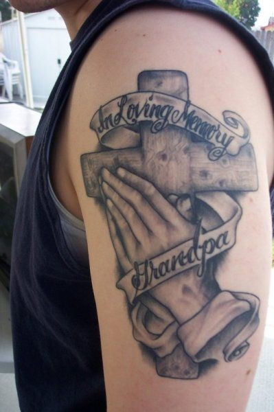 076dd81a6f169 Praying Hands Cross Memorial Tattoo On Biceps | Trish's | Hand ...