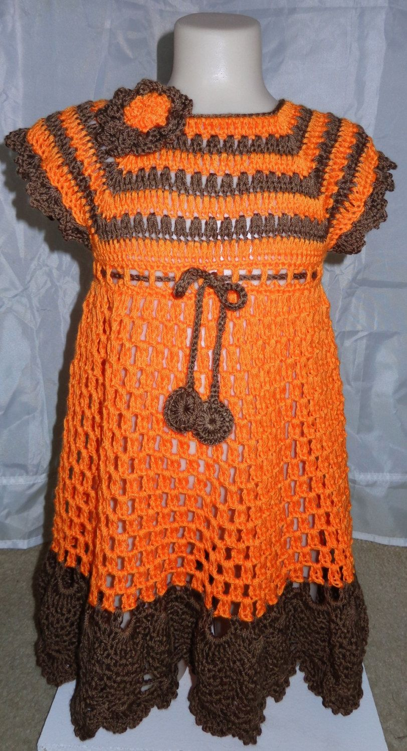 Crochet baby dress . Orange and  brown. Size 3T to 4T by FAYSFABULOUSCROCHET on Etsy