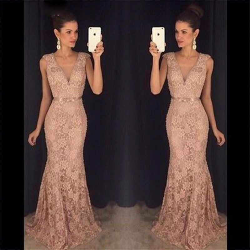 Long Champagne Mermaid Lace Evening Formal Party Ball Bridesmaid ...