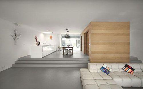 Minimalistische open woonkamer interieur inrichting box in box