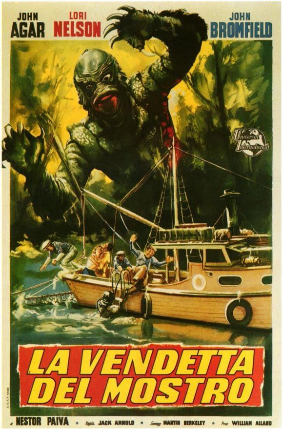 Revenge of the Creature 1955 Movie Poster Mini Poster Foreign Style A. Available here: http://www.classichorrorposters.com/shop/11x17-inch-mini-posters/revenge-of-the-creature-1955-movie-poster-mini-poster-foreign-style-a/