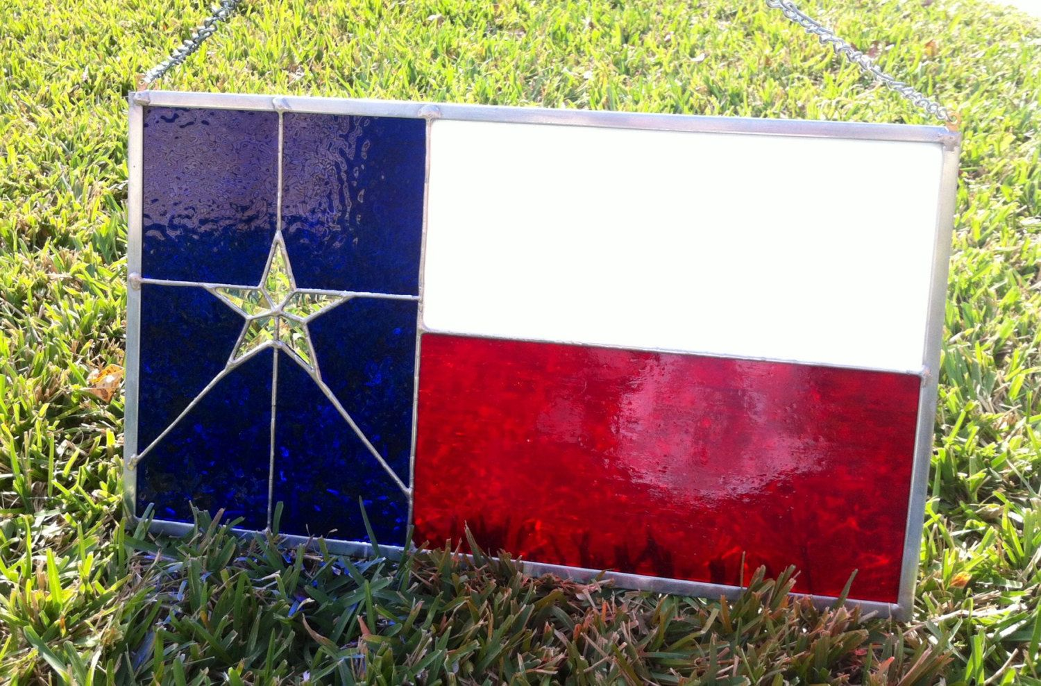 Texas state flag stained glass panel  11 x 20