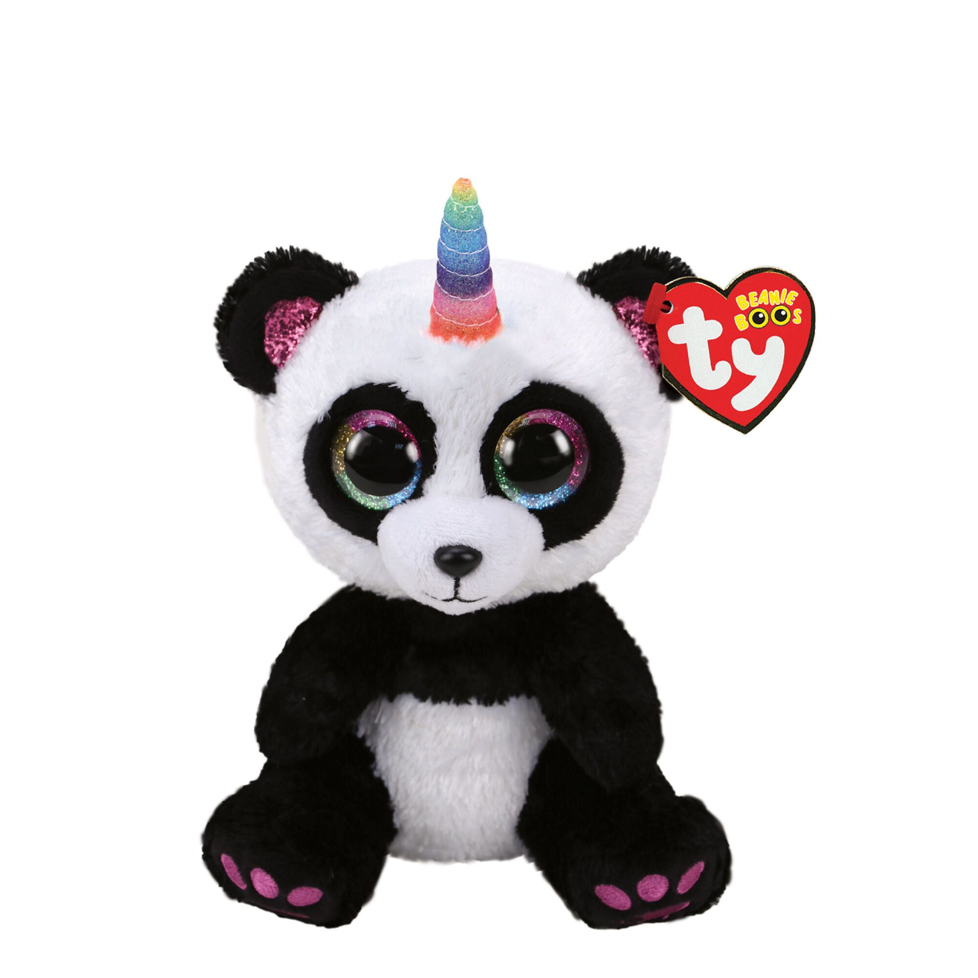 A cuddle buddy with a rainbow horn, The cutest panda that was ever born! Plush Toy by Ty Birthday: March 12th Height: 6