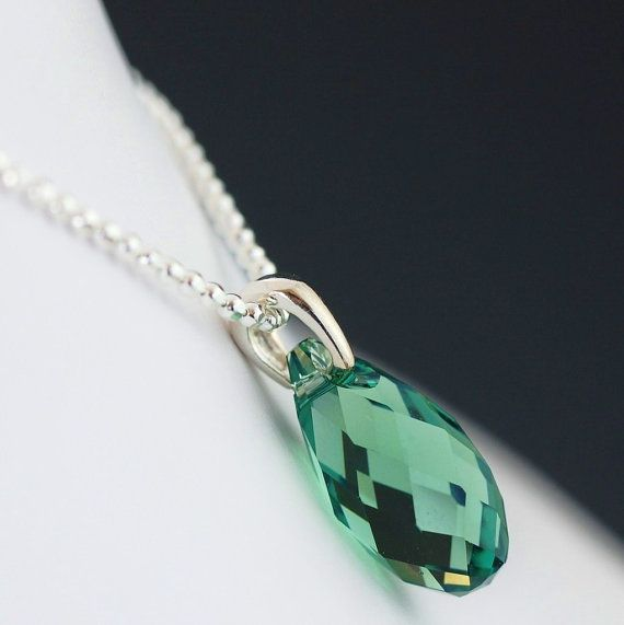 Green swarovski crystal necklace on sterling silver chain southpawstudios.etsy.com