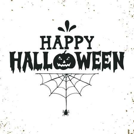 Hand drawn Happy Halloween lettering with a pumpkin and spider..