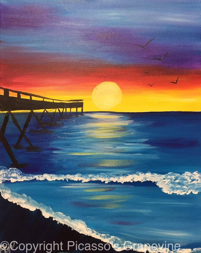 Paint And Sip Beach Sunset Painting Sunset Art Easy Canvas