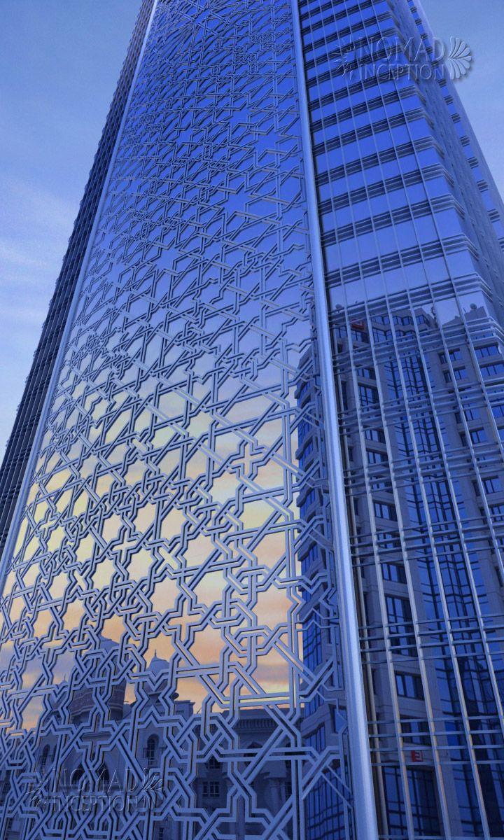 Islamic geometric design on tower façade Geometri, Arabes