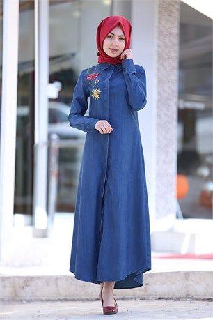 My Magazin Tesettur Kot Elbise 1338 Mavi Kot Elbiseler Islami Moda Denim Fashion