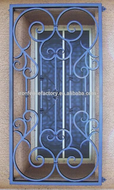 Source china top 5 iron window grill design decorative for Exterior window grill design
