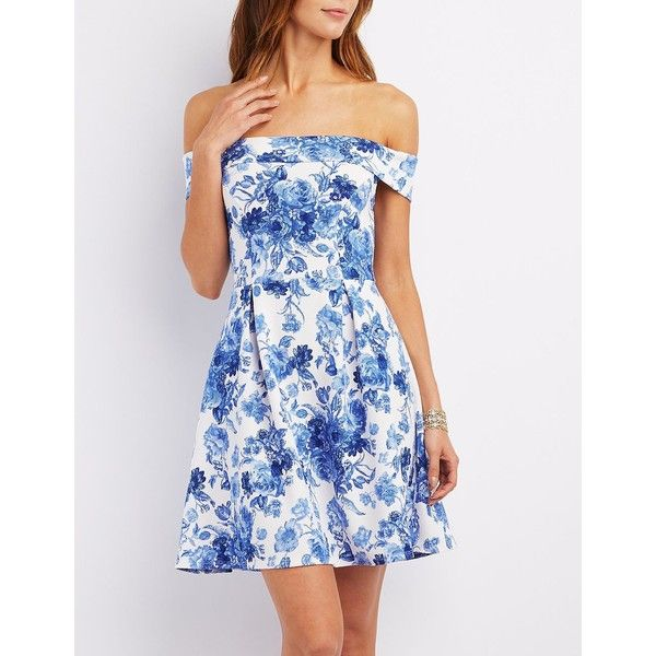 Charlotte Russe Floral Off-the-Shoulder Skater Dress (165 HKD) ❤ liked on Polyvore featuring dresses, medium blue combo, white off the shoulder dress, white skater dress, blue fit-and-flare dresses, blue dress and floral skater dress