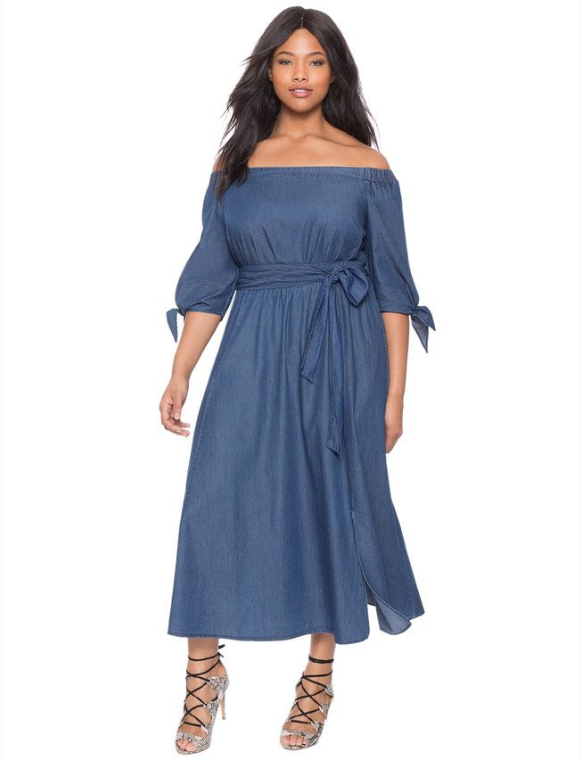 6da8ad2e65b not big on off-the-shoulder but this is cute    Studio Off the Shoulder  Chambray Dress from eloquii.com