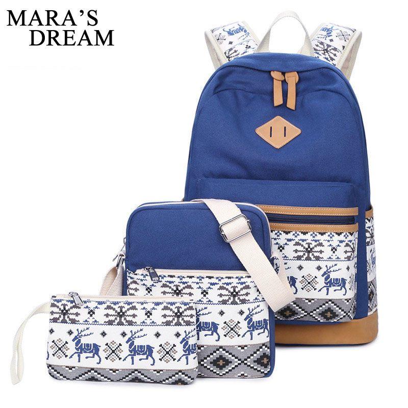 f7e8491cf8c7 Mara  s Dream 2017 Canvas Backpack Women Cute Deer School Bag for Teenagers  Girls Preppy