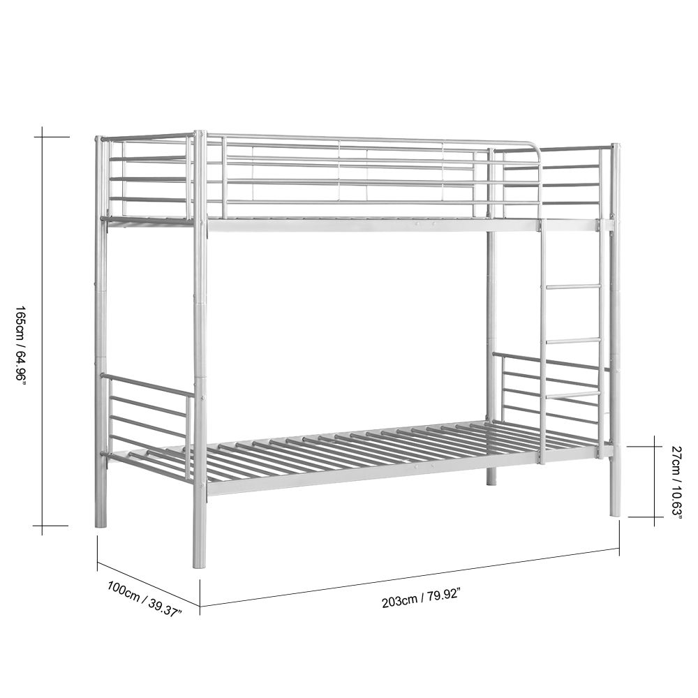 Silver Ikayaa Modern Single Over Single Metal Bunk Bed