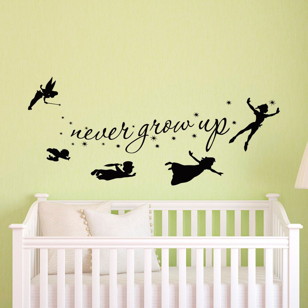 Peter Pan Wall Decal Quote Never Grow Up Children Flying Silhouette ...