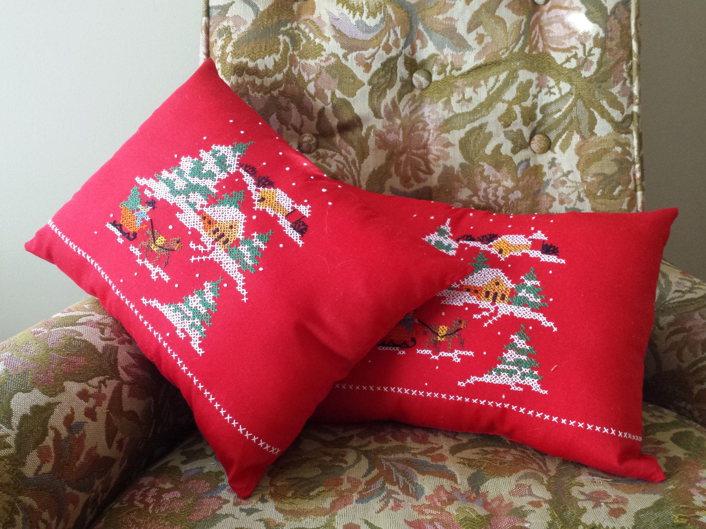 Decor Pillows   Christmas Cross Stitch   Hand Embroidered   Holiday Decor   Festive  Home Decor