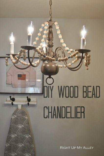 Diy wood bead chandelier laundry room pinterest wood bead diy wood bead chandelier aloadofball Gallery