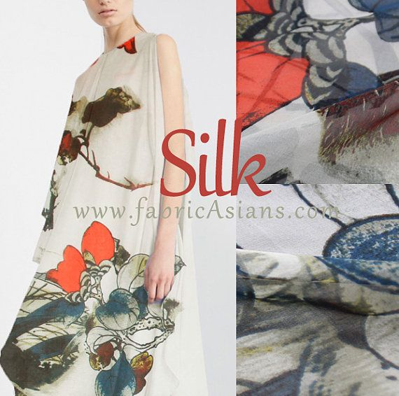 "Chinese Painting Silk. Chinese Silk. Silk Chiffon. Bomhax ceiba.  Crepe de Chine. 6momme. 55"" wide.  SCA100615"
