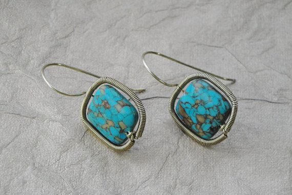Turquoise and Gold Wire Wrapped Earrings Handmade by ForestBeads, $29.99