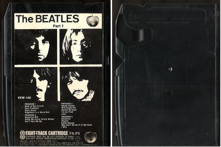 The Beatles / White Album - Part 1 (1968) / Apple 8XW-160 (8-Track Tape) / black #PopRockRocknRoll