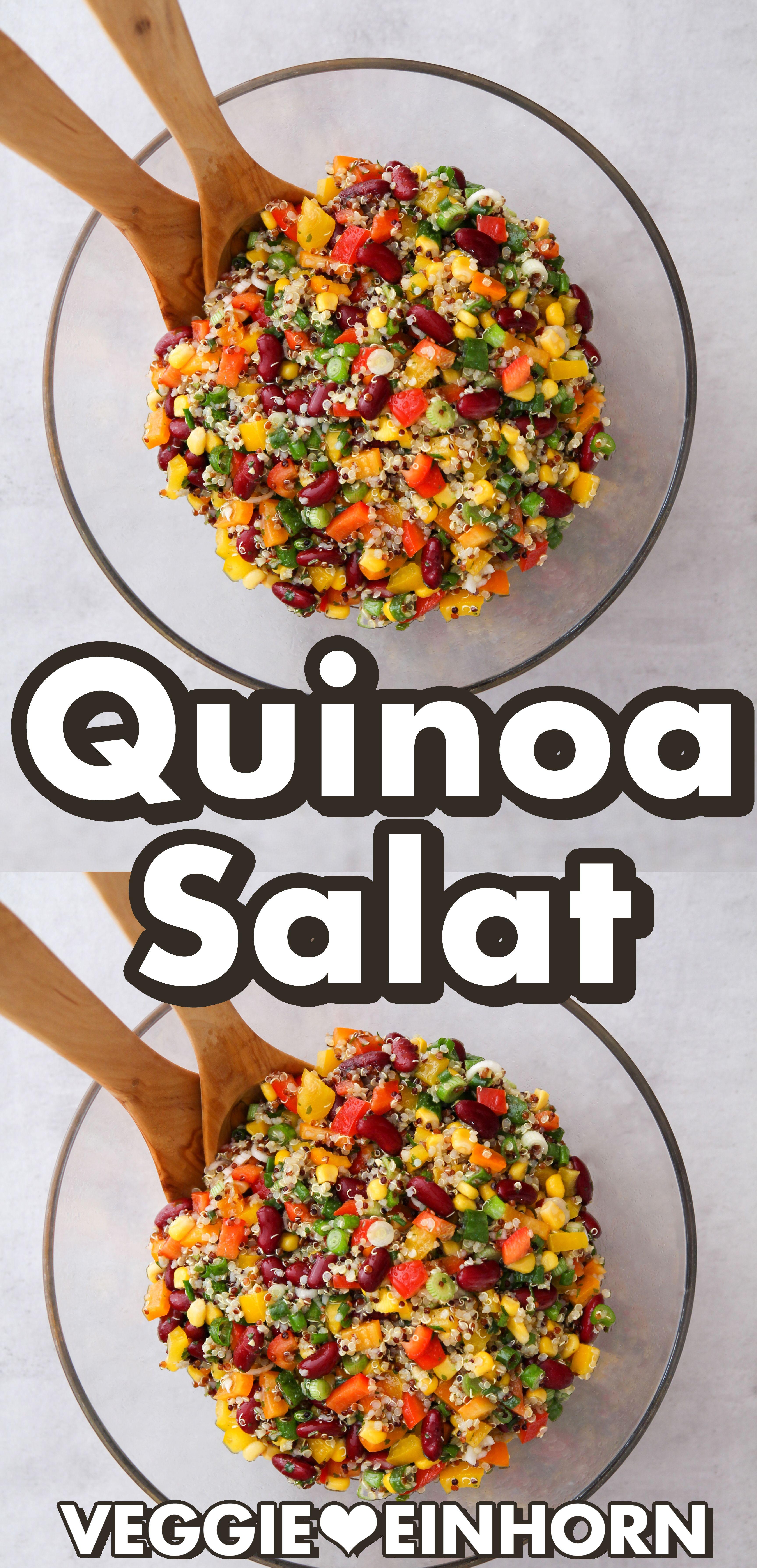 Gesunde Rezepte, Salat Rezepte: Dies ist ein leckeres Rezept für einen Quinoa Salat mit Paprika, Mai...