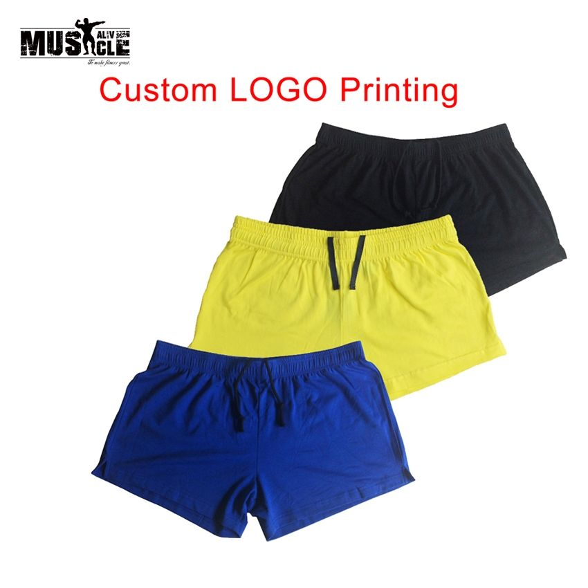a0f29e323df3 Custom LOGO Plain Workout Shorts High Quality Cotton Men s Shorts Fitness  Bodybuilding Clothing Trousers Joggers Clothing