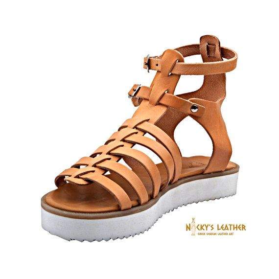 GLADIATOR SANDALS from Full Grain Leather with chunky heel in Black Color by NickysLeather