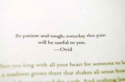if this is really ovid, it means people have been grabbling with the purpose of pain for a long time.