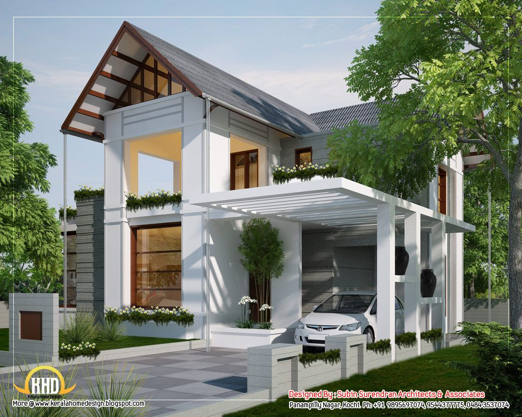 European Style Home Sloping Roof In Kerala 170 Sq M 1829 Sq Ft February 2012 Modern Bungalow House Rustic House Plans Ranch Style House Plans