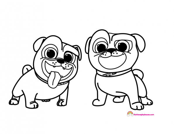 Disney's Puppy Dog Pal's Bingo And Rolly Coloring Page