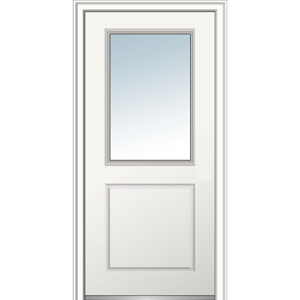 Mmi Door 36 In X80 In Right Hand Inswing 1 2 Lite Clear 1 Panel Primed Fiberglass Smooth Prehung Front Door On 6 9 16 In Frame Clear Glass Prehung Doors Classic Doors