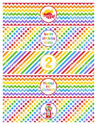 Printable MM Candy Shoppe Red Rainbow Water Bottle Label Wraps