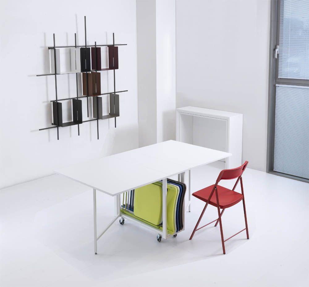 table pliante avec 6 chaises integrees