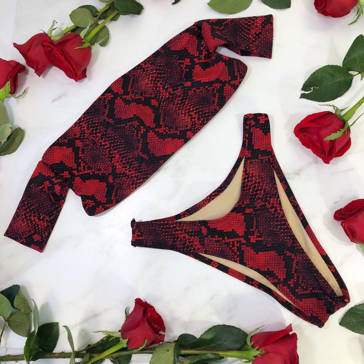 Sleeve red snake skin bikini