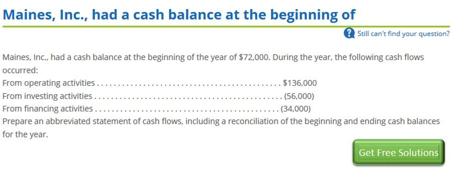 Maines Inc Had A Cash Balance At The Beginning Of The Year Of