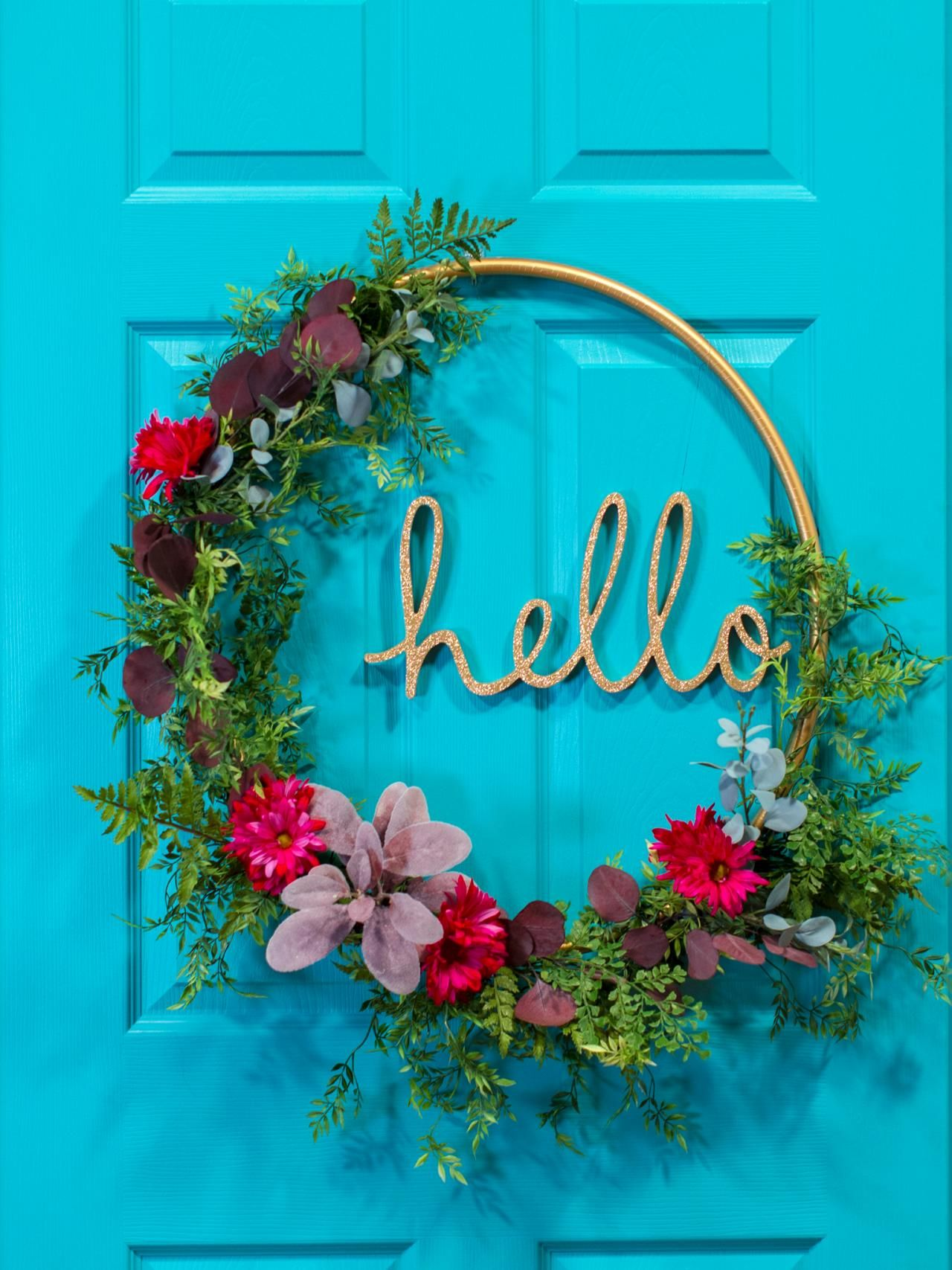 How to Make a Hula Hoop Word Wreath | Flower boxes, Box and Flower