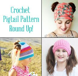 b4cd15352e8 I came across a few patterns for an adorable pigtail crochet hat and just  had to share them with you! What little girl wouldn t want a hat with holes  for ...